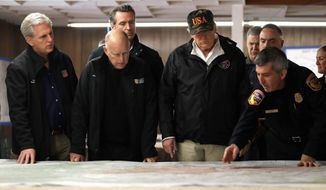 President Trump visited California and worked with Gov. Jerry Brown and Gov.-elect Gavin Newsom, setting an example of cooperation. (Associated Press)
