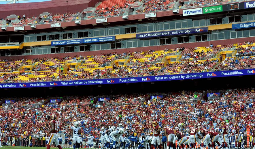 The Washington Redskins entered Sunday ranked 26th in the NFL in attendance, despite FedEx Field being one of the largest stadiums in the league. Attendance is down 18.5 percent from last season.  (Associated Press photo) ** FILE **