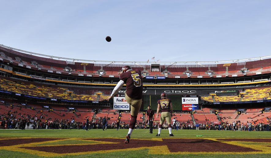 Washington Redskins punter Tress Way (5) warms up prior to an NFL football game against the Houston Texans, Sunday, Nov. 18, 2018, in Landover, Md. (AP Photo/Mark Tenally) ** FILE **