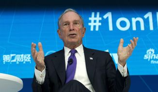 Former New York City Mayor and United Nations Special Envoy for Climate Action Michael Bloomberg speaks at World Bank/IMF Spring Meetings, in Washington, in this Thursday, April 19, 2018, file photo. (AP Photo/Jose Luis Magana, File)