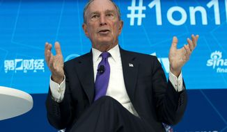 FILE - In this Thursday, April 19, 2018, file photo, former New York City Mayor and United Nations Special Envoy for Climate Action Michael Bloomberg speaks at World Bank/IMF Spring Meetings, in Washington. Bloomberg is donating $1.8 billion to his alma mater, Johns Hopkins University. Bloomberg and the Baltimore university said Sunday, Nov. 18, 2018, that the gift is the largest ever to any education institution in the U.S. (AP Photo/Jose Luis Magana, File)