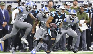 Carolina Panthers wide receiver DJ Moore (12) breaks downfield after a catch during the second half of an NFL football game, against the Detroit Lions, Sunday, Nov. 18, 2018, in Detroit. (AP Photo/Rey Del Rio)