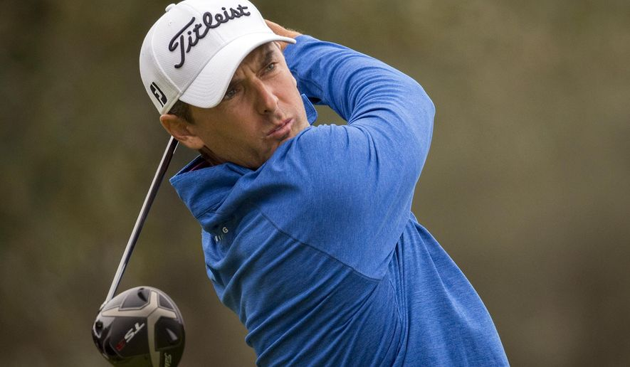 Charles Howell III watches his drive off the second tee during the final round of the RSM Classic golf tournament on Sunday, Nov. 18, 2018, in St. Simons Island, Ga. (AP Photo/Stephen B. Morton)