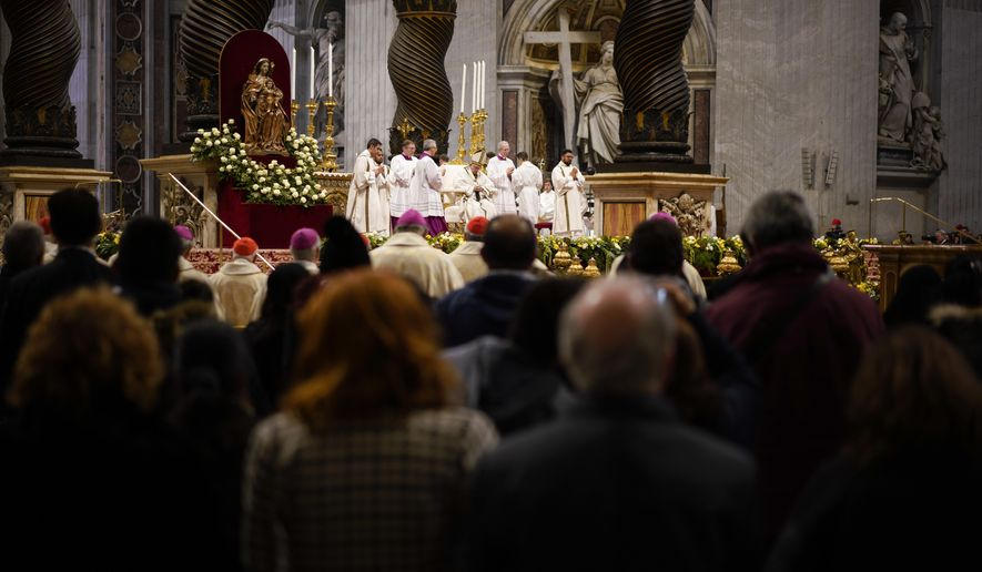 Pope Francis celebrates a mass in St. Peter basilica at the Vatican, Sunday, Nov. 18, 2018. Pope Francis is offering several hundred poor people, homeless, migrants, unemployed a lunch on Sunday as he celebrates the World Day of the Poor with a concrete gesture of charity in the spirit of his namesake, St. Francis of Assisi.(AP Photo/Andrew Medichini)