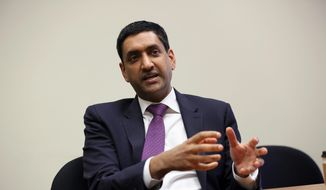 "U.S. Rep. Rohit ""Ro"" Khanna, from California's 17th Congressional District centered in Santa Clara and other parts of California's Silicon Valley, is interviewed in Los Angeles Friday, Jan. 26, 2018. (AP Photo/Reed Saxon) ** FILE **"