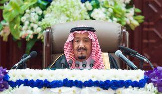 Saudi King Salman bin Abdulaziz al Saud Salman steered clear of the allegations that the crown prince orchestrated the murder of journalist Jamal Khashoggi. (Associated Press)