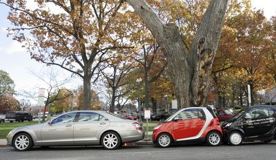 Two of Daimler AG's Fortwo new smart cars, right, are shown parked in the spaced used for a regular sized vehicle in Washington, Tuesday, Dec. 4, 2007, where the cars where unveiled to the media. Starting prices for this compact car which will go on sale sometime in the first quarter of 2008, will be $11,000. (AP Photo/Lawrence Jackson) **FILE**