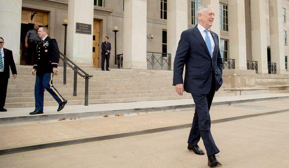 Defense Secretary Jim Mattis arrives to speak to reporters at the Pentagon in Washington. (AP Photo/Andrew Harnik)