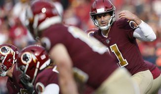 Washington Redskins quarterback Alex Smith (11) during the first half of an NFL football game against the Houston Texans, Sunday, Nov. 18, 2018, in Landover, Md.(AP Photo/Pablo Martinez Monsivais) ** FILE **