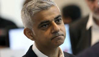 London Mayor Sadiq Khan announced Monday, Nov. 19, 2018, that three water cannons bought for police under predecessor Boris Johnson, have been sold for scrap, at a loss of more than 300,000 pounds (US dollars 385,000). (AP Photo/Robert Stevens, FILE)