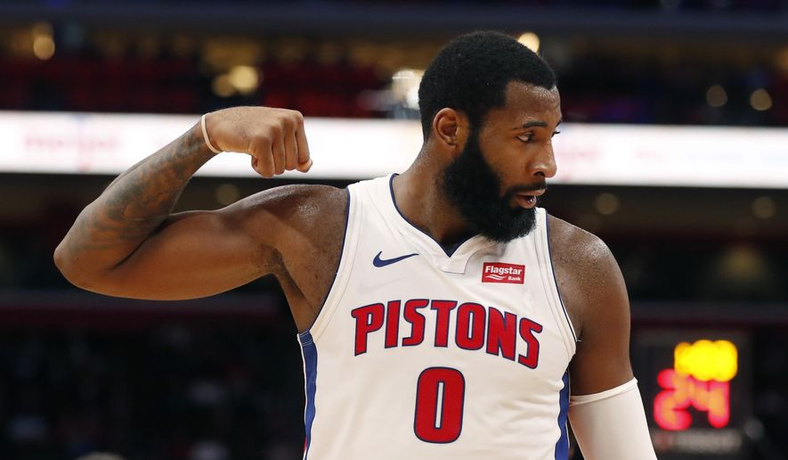 Detroit Pistons center Andre Drummond flexes after a play during the first half of an NBA basketball game against the Cleveland Cavaliers, Monday, Nov. 19, 2018, in Detroit. (AP Photo/Carlos Osorio)