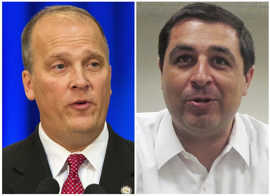 FILE - This combination of file photos shows the Wisconsin attorney candidates in the November 2018 election from left, incumbent Republican Attorney General Brad Schimel and Democrat challenger Josh Kaul. Schimel on Monday, Nov. 19, 2018, conceded to Kaul and announced he would not seek a recount, even though state law allowed it because the margin of his defeat was less than 1 percentage point. (AP Photo, File)