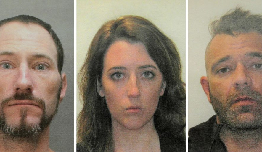 FILE - This November 2018 file combination of photos provided by the Burlington County Prosecutors office shows Johnny Bobbitt, from left, Katelyn McClure and Mark D'Amico. McClure, charged with scamming GoFundMe donors out of more than $400,000 with a fake story about homeless veteran Bobbitt, was duped by her former boyfriend and genuinely thought she was helping the man, her attorney said Monday. Nov. 19, 2018. (Burlington County Prosecutors Office via AP, File)