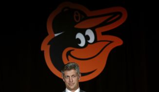 Mike Elias, the Baltimore Orioles' new executive vice president and general manager, speaks at baseball a news conference, Monday, Nov. 19, 2018, in Baltimore. (AP Photo/Patrick Semansky)