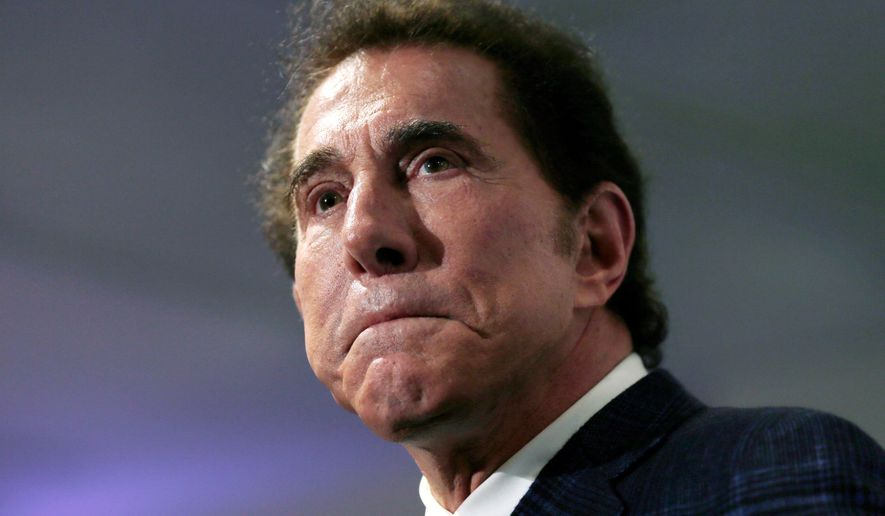 FILE - This March 15, 2016, file photo, shows casino mogul Steve Wynn at a news conference in Medford, Mass. A judge in Nevada has temporarily blocked release of a Massachusetts Gaming Commission investigation about allegations of sexual misconduct against former casino mogul Wynn. (AP Photo/Charles Krupa, File)