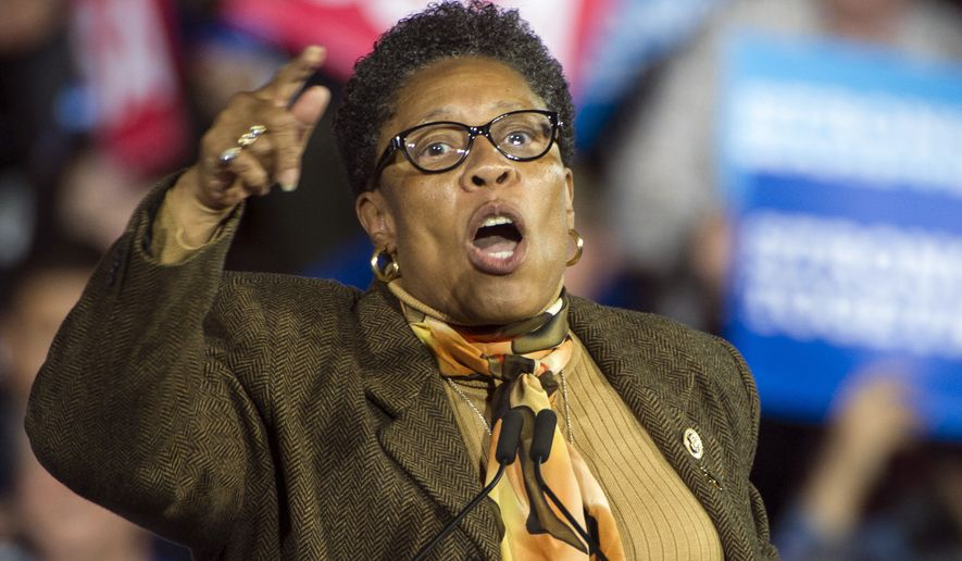 Rep. Marcia Fudge, D-Ohio, speaks at a campaign rally for then-Democratic presidential candidate Hillary Clinton in Cleveland. (AP Photo/Phil Long, File)