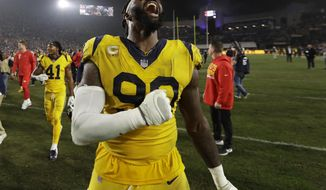 Los Angeles Rams defensive end Michael Brockers celebrates after the Rams beat the Kansas City Chiefs 54-51 in an NFL football game, Monday, Nov. 19, 2018, in Los Angeles. (AP Photo/Marcio Jose Sanchez)
