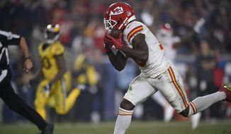 Kansas City Chiefs wide receiver Tyreek Hill hauls in a touchdown catch against the Los Angeles Rams during the second half of an NFL football game, Monday, Nov. 19, 2018, in Los Angeles. (AP Photo/Kelvin Kuo) **FILE**