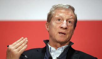 "In this March 16, 2018, file photo, political activist Tom Steyer speaks during a ""Need to Impeach"" town hall event at the Clifton Cultural Arts Center in Cincinnati. (AP Photo/John Minchillo, File)"