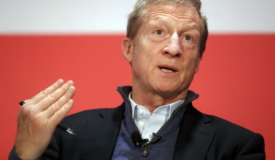 """In this March 16, 2018, file photo political activist Tom Steyer speaks during a """"Need to Impeach"""" town hall event at the Clifton Cultural Arts Center in Cincinnati. (AP Photo/John Minchillo, File)"""
