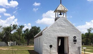 La Lomita Chapel, originally built in 1865, is the namesake of Mission, Texas. The Catholic Diocese of Brownsville is fighting a federal proposal to construct a border wall at the site. (Kirsten Crow/Corpus Christi Caller-Times via AP)