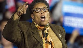 FILE - In this Nov. 6, 2016, file photo, Rep. Marcia Fudge, D-Ohio, speaks at a campaign rally for then-Democratic presidential candidate Hillary Clinton in Cleveland. Fudge, who is considering a run for speaker of the House, is walking back her past support for a man suspected of stabbing his ex-wife. Fudge was among several officials who wrote letters of support over recent years for Lance Mason, a former county judge and state senator who pleaded guilty in 2015 to beating Aisha Fraser Mason so badly that her face required reconstructive surgery. (AP Photo/Phil Long, File)