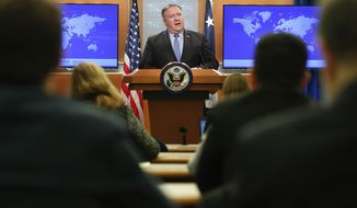 Secretary of State Mike Pompeo speaking during a news conference at the State Department in Washington, Tuesday, Nov. 20, 2018. (AP Photo/Pablo Martinez Monsivais)