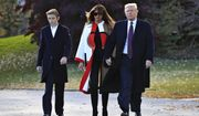 President Donald Trump with first lady Melania Trump and their son Barron Trump walk from the Oval Office as they leave the White House in Washington, Tuesday, Nov. 20, 2018, to travel to Florida, where they will spend Thanksgiving at Mar-a-Lago. (AP Photo/Manuel Balce Ceneta)