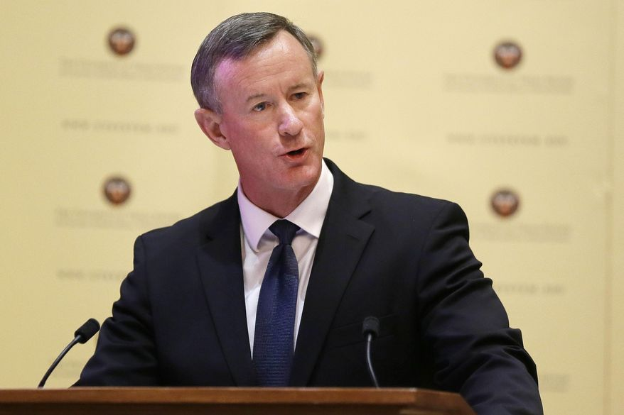 In this Aug. 21, 2014, file photo, Navy Adm. William McRaven addresses the Texas Board of Regents in Austin, Texas. (AP Photo/Eric Gay, File)