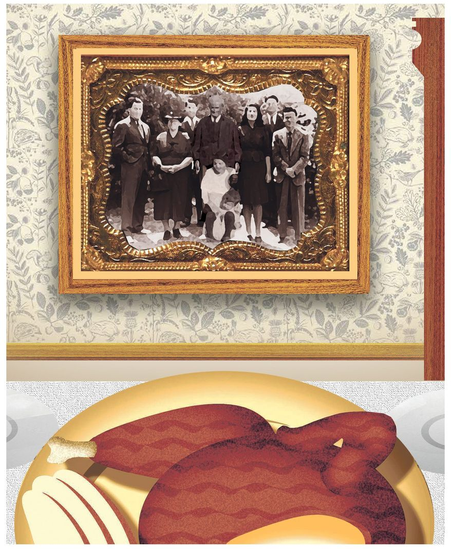 Illustration on the family foundations of Thanksgiving by ALexander Hunter/The Washington Times
