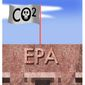 Illustration on changing EPA regs on carbon dioxide by Alexander Hunter/The Washington Times