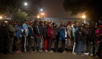 Central American migrants wait to receive food next to the border wall, seen from Tijuana, Mexico, Tuesday, Nov. 20, 2018. Migrants camped in Tijuana after traveling in a caravan to reach the U.S weighing their options after a U.S. court blocked President Donald Trump's asylum ban for illegal border crossers. (AP Photo/Ramon Espinosa)