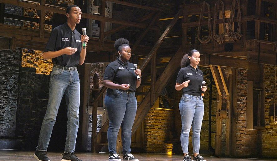 Students from Hillside High School perform on Hamilton's stage on Thursday, Nov. 1, 2018 as part of the EduHam initiative. (Lorena Rios Trevino/The Charlotte Observer via AP)