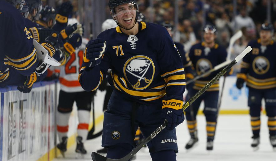 Buffalo Sabres forward Evan Rodrigues (71) celebrates his goal during the first period of an NHL hockey game against the Philadelphia Flyers, Wednesday, Nov. 21, 2018, in Buffalo N.Y. (AP Photo/Jeffrey T. Barnes)