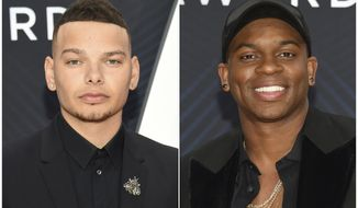 This combination photo shows country singers Kane Brown, left, and Jimmie Allen at the 52nd annual CMA Awards in Nashville, Tenn. Allen has made history as the first black artist to have his debut single reach No. 1 on country radio, and it happened on the same week Kane Brown, who is black and white, has the top country album in the U.S. (Photos by Evan Agostini/Invision/AP)