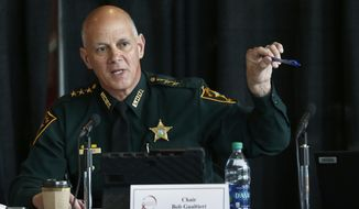 FILE- In this June 7, 2018 file photo Marjory Stoneman Douglas High School Public Safety Commission chair and Pinellas County Sheriff Bob Gualtieri gestures as he speaks during a commission meeting in Sunrise, Fla. Guiltieri says he now believes trained, volunteer teachers should have access to guns so they can stop shooters who get past other safeguards. (AP Photo/Wilfredo Lee, File)