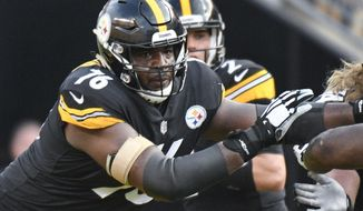 FILE - In this Aug. 25, 2018, file photo, Pittsburgh Steelers offensive tackle Chuks Okorafor (76) plays against the Tennessee Titans in an NFL preseason football game in Pittsburgh. Okorafor has long admired Denver linebacker Von Miller. The 21-year-old rookie could get an up-close look on Sunday when the Steelers visit the Broncos. (AP Photo/Don Wright, File)