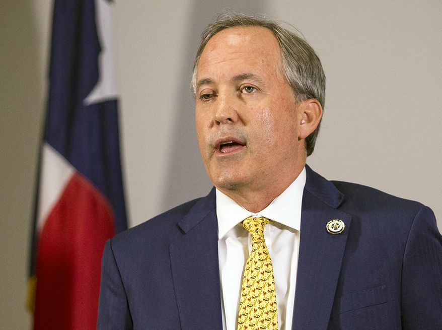FILE - In this May 1, 2018, file photo, Texas Attorney General Ken Paxton speaks at a news conference in Austin, Texas. The Texas Court of Criminal Appeals on Wednesday, Nov. 21, 2018, handed a loss to prosecutors trying to bring the indicted Paxton to trial on charges of securities fraud, throwing the long running-criminal case into new doubt. The court ruled that payments approved to special prosecutors were set beyond legal limits. Prosecutors have previously threatened to quit the case if they're not paid more than $200,000 they say they're owed. (Nick Wagner/Austin American-Statesman via AP, File)