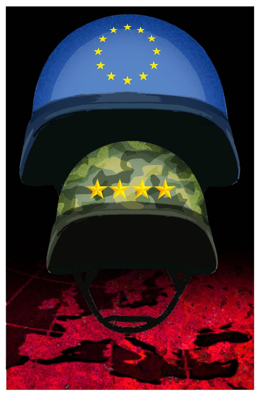 Illustration on the prospect of a European regional army by Alexander Hunter/The Washington Times