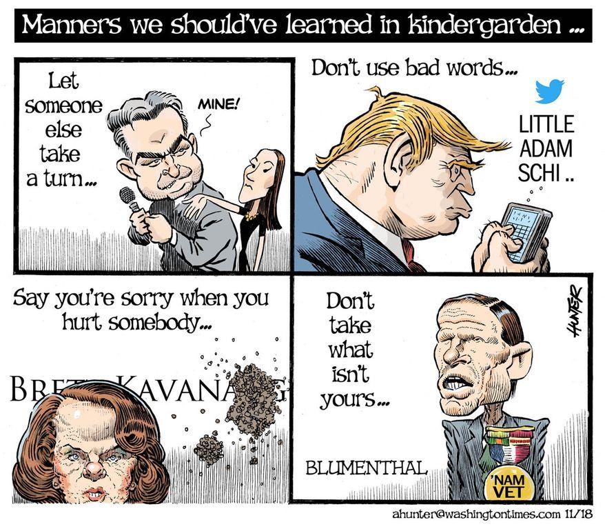 Illustration by Alexander Hunter for The Washington Times (published November 22, 2018)