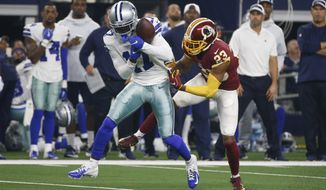 Dallas Cowboys wide receiver Allen Hurns (17) makes a catch in front of Washington Redskins cornerback Quinton Dunbar (23) during the first half of an NFL football game in Arlington, Texas, Thursday, Nov. 22, 2018. (AP Photo/Michael Ainsworth)