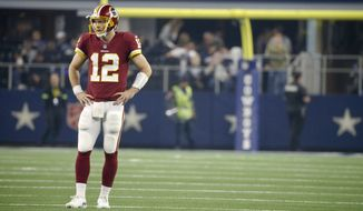 Washington Redskins quarterback Colt McCoy (12) during the second half of an NFL football game against the Dallas Cowboys in Arlington, Texas, Thursday, Nov. 22, 2018. (AP Photo/Michael Ainsworth)