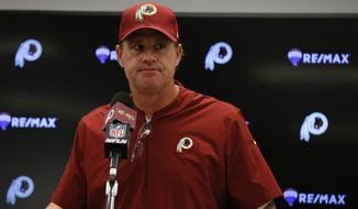 Washington Redskins head coach Jay Gruden speaks during a press conference following an NFL football game in Arlington, Texas, Thursday, Nov. 22, 2018. The Cowboys defeated the Redskins 31-23. (AP Photo/Michael Ainsworth) ** FILE **