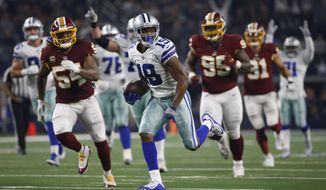 Dallas Cowboys wide receiver Amari Cooper (19) runs in for a touchdown against the Washington Redskins during the second half of an NFL football game in Arlington, Texas, Thursday, Nov. 22, 2018. (AP Photo/Ron Jenkins)