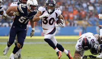 """File-This Nov. 18, 2018, file photo shows Denver Broncos running back Phillip Lindsay (30) running with the ball during a rushing attempt of an NFL football game, in Carson, Calif. Omitted from the combine invitation list and neglected entirely in the NFL draft, Lindsay had gone from head-scratcher to head-turner.  """"I remember the first couple of times I watched him five, six weeks ago on video, I had to get a flip card to figure out who he was,"""" Pittsburgh Steelers coach Mike Tomlin said. """"But he's quick and fast, a Colorado guy and makes a lot of plays for them.""""  (AP Photo/Peter Joneleit, File)"""
