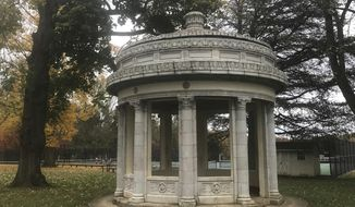 This undated photo shows a Greek-style monument in Greenville, Del., which used to be a Wilmington gas station from the 1920s. The structure, inspired by the classic Choragic Monument of Lysicrates in Athens, Greece, is possibly the only service station of about 50 built by and operated by the Atlantic Refining Co. from the 1920s that's still standing. (Patricia Talorico/The News Journal via AP)