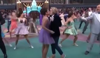 The Macy's Thanksgiving Day Parade featured its very first same-sex kiss in the parade's 92-year history on Thursday, featuring Broadway actresses Caitlin Kinnunen and Isabelle McCalla. (NBC/@Andres LaFrazia)