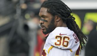 Washington Redskins free safety D.J. Swearinger (36) warms up before an NFL football game against the New York Giants, Sunday, Oct. 28, 2018, in East Rutherford, N.J. (AP Photo/Bill Kostroun) ** FILE **
