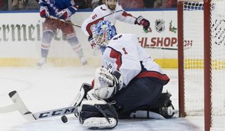Washington Capitals goaltender Pheonix Copley makes a save during the second period of an NHL hockey game against the New York Rangers, Saturday, Nov. 24, 2018, at Madison Square Garden in New York. (AP Photo/Mary Altaffer) ** FILE **