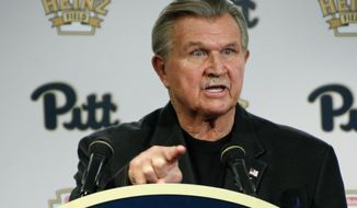"FILE - In this Saturday, Nov. 7, 2015 file photo, former NFL coach and University of Pittsburgh alumnus, Mike Ditka speaks at a news conference in Pittsburgh. Hall of Fame tight end and former Chicago Bears coach Mike Ditka is recovering from a mild heart attack. Steve Mandell, Ditka's agent, tells ESPN that doctors inserted a pacemaker. He says Ditka ""is doing much better,"" and the iconic coach ""appreciates the outpouring of support and expects to be home soon."" (AP Photo/Keith Srakocic, File)"